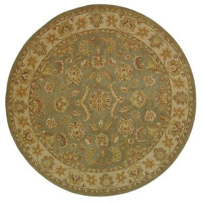 Dunbar Hand-Woven Wool Moss Green/Gold Area Rug Rug Size: Round 6