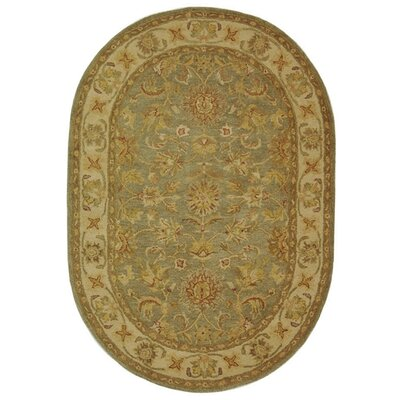 Dunbar Hand-Woven Wool Moss Green/Gold Area Rug Rug Size: Oval 46 x 66