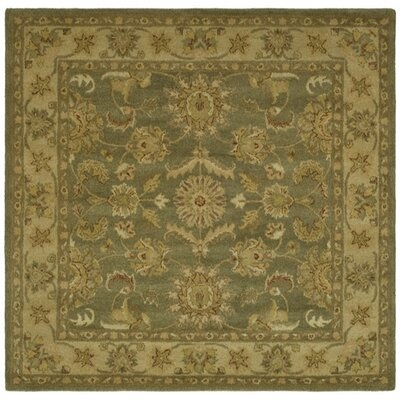 Dunbar Hand-Woven Wool Moss Green/Gold Area Rug Rug Size: Square 6