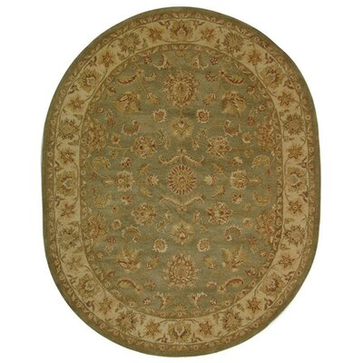 Dunbar Green/Gold Area Rug Rug Size: Oval 76 x 96