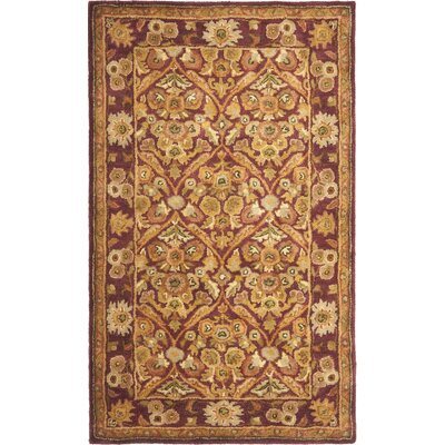 Dunbar Garden Panel Wine/Gold Area Rug Rug Size: Rectangle 3 x 5