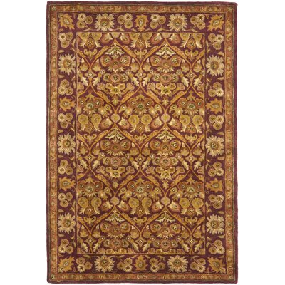 Dunbar Garden Panel Wine/Gold Area Rug Rug Size: Rectangle 4 x 6