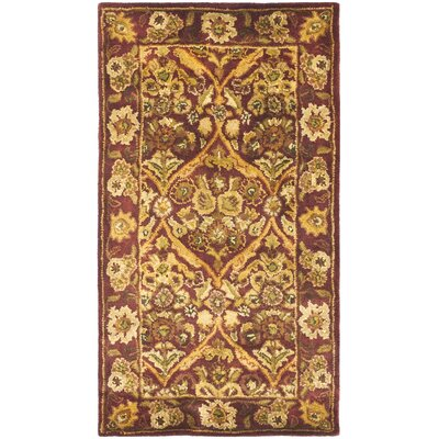 Dunbar Garden Panel Wine/Gold Area Rug Rug Size: Rectangle 23 x 4