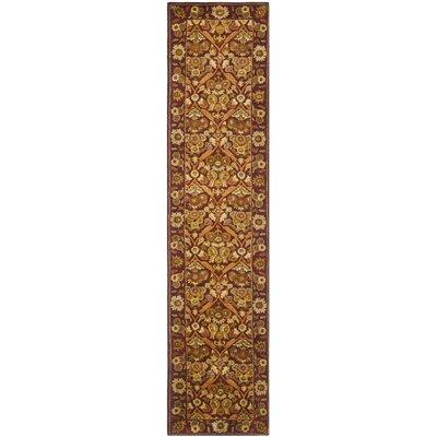 Dunbar Garden Panel Wine/Gold Area Rug Rug Size: Runner 23 x 10