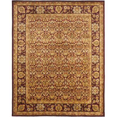 Dunbar Garden Panel Wine/Gold Area Rug Rug Size: Rectangle 76 x 96