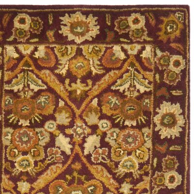 Dunbar Garden Panel Wine/Gold Area Rug Rug Size: Runner 23 x 12