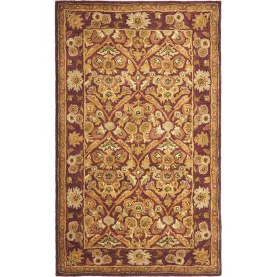 Dunbar Garden Panel Wine/Gold Area Rug Rug Size: 76 x 96