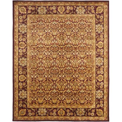 Dunbar Garden Panel Wine/Gold Area Rug Rug Size: Rectangle 6 x 9