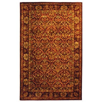 Dunbar Garden Panel Wine/Gold Area Rug Rug Size: Rectangle 5 x 8