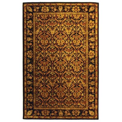 Dunbar Garden Panel Dark Plum/Gold Area Rug Rug Size: Rectangle 5 x 8