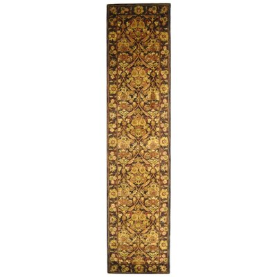 Dunbar Garden Panel Dark Plum/Gold Area Rug Rug Size: Runner 23 x 12