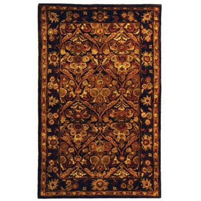 Dunbar Garden Panel Dark Plum/Gold Area Rug Rug Size: Oval 46 x 66