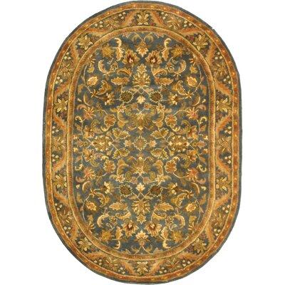 Dunbar Blue/Gold Area Rug Rug Size: Oval 46 x 66