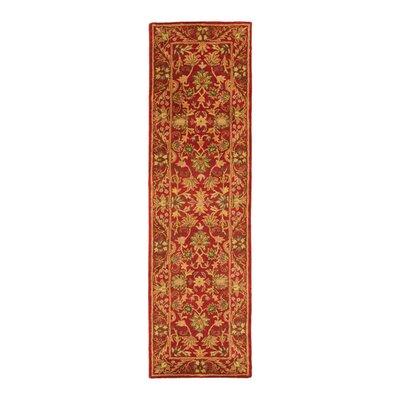 Dunbar Hand-Woven Wool Red/Gold/Green Area Rug Rug Size: Runner 23 x 10