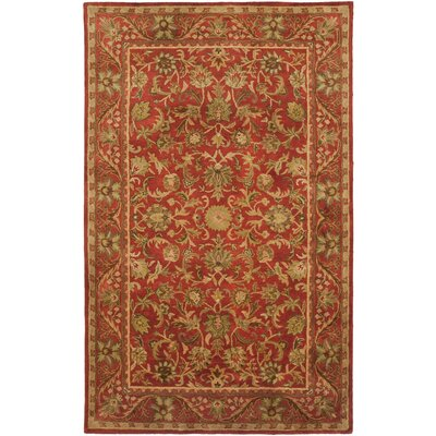 Dunbar Hand-Woven Wool Red/Gold/Green Area Rug Rug Size: Rectangle 2 x 3