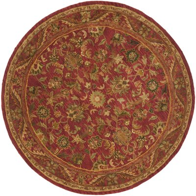 Dunbar Hand-Woven Wool Red/Gold/Green Area Rug Rug Size: Round 6