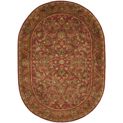Dunbar Hand-Woven Wool Red/Gold/Green Area Rug Rug Size: Oval 46 x 66