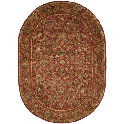 Dunbar Red Area Rug Rug Size: Oval 46 x 66