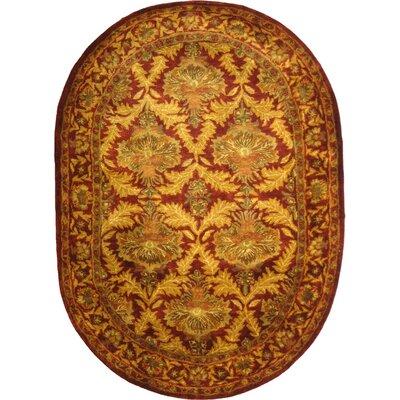 Dunbar Wine/Gold Area Rug Rug Size: Oval 46 x 66