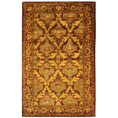 Dunbar Wine/Gold Area Rug Rug Size: Rectangle 6 x 9