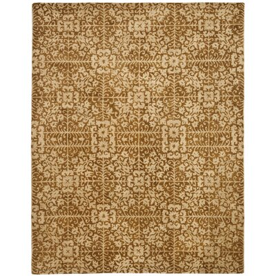 Dunbar Hand-Woven Wool Gold/Beige Area Rug Rug Size: Rectangle 96 x 136