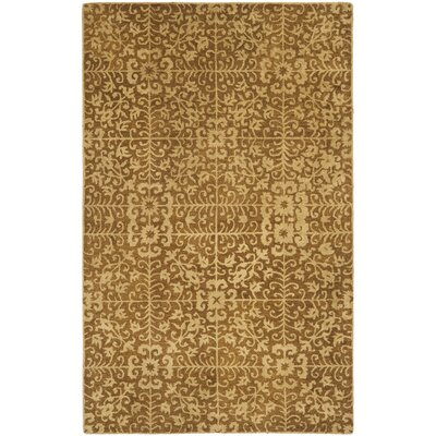 Dunbar Hand-Woven Wool Gold/Beige Area Rug Rug Size: Rectangle 5 x 8