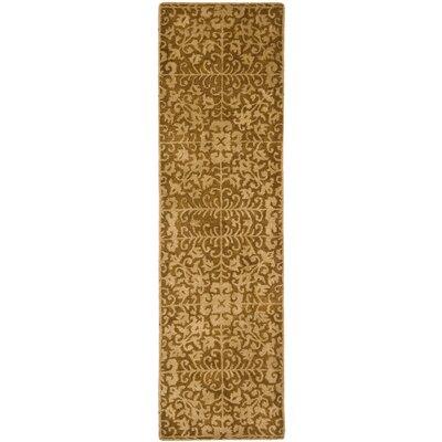 Dunbar Hand-Woven Wool Gold/Beige Area Rug Rug Size: Runner 23 x 8