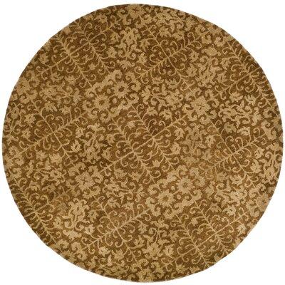 Dunbar Gold/Beige Area Rug Rug Size: Round 8