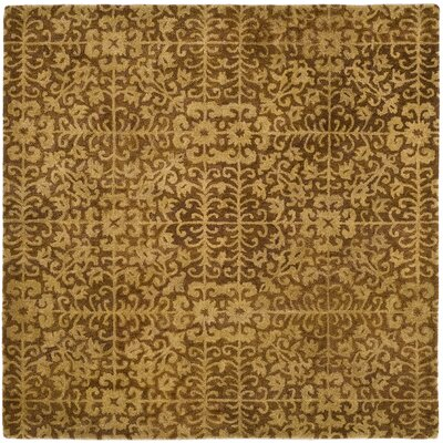 Dunbar Hand-Woven Wool Gold/Beige Area Rug Rug Size: Square 6