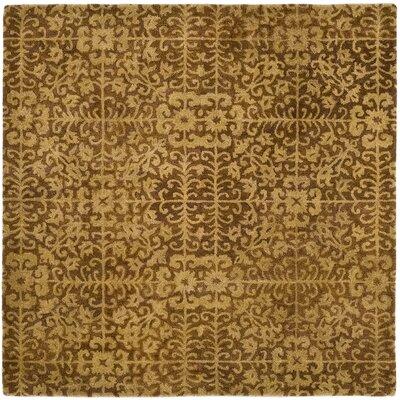 Dunbar Gold/Beige Area Rug Rug Size: Square 6
