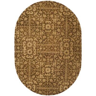 Dunbar Hand-Woven Wool Gold/Beige Area Rug Rug Size: Oval 76 x 96