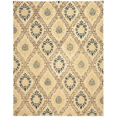 Dunbar Light Gold/Multi Area Rug Rug Size: Rectangle 76 x 96