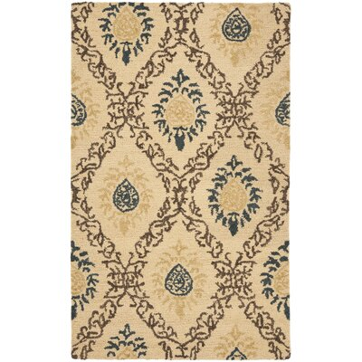 Dunbar Light Gold/Multi Area Rug Rug Size: 4 x 6