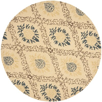 Dunbar Light Gold/Multi Area Rug Rug Size: Round 6