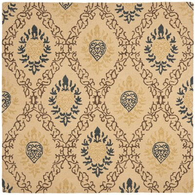 Dunbar Light Gold/Multi Area Rug Rug Size: Square 6