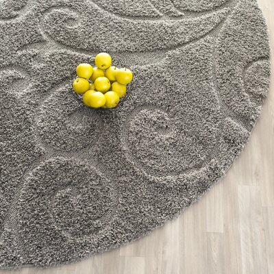 Rowes Swirl Gray Area Rug Rug Size: Round 67