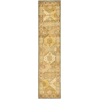 Dunbar Hand-Woven Wool Green/Beige Area Rug Rug Size: Runner 23 x 12
