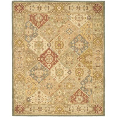 Dunbar Hand-Woven Wool Green/Beige Area Rug Rug Size: Rectangle 12 x 18