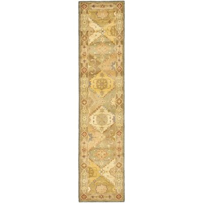 Dunbar Hand-Woven Wool Green/Beige Area Rug Rug Size: Runner 23 x 10