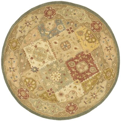 Dunbar Hand-Woven Wool Green/Beige Area Rug Rug Size: Round 6