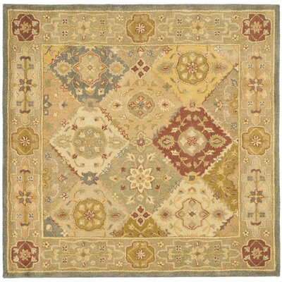 Dunbar Hand-Woven Wool Green/Beige Area Rug Rug Size: Square 6