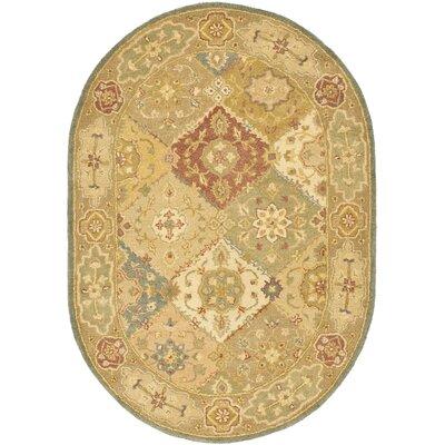 Dunbar Hand-Woven Wool Green/Beige Area Rug Rug Size: Oval 46 x 66
