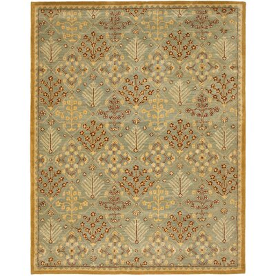 Dunbar Light Blue/Gold Area Rug Rug Size: Rectangle 6 x 9