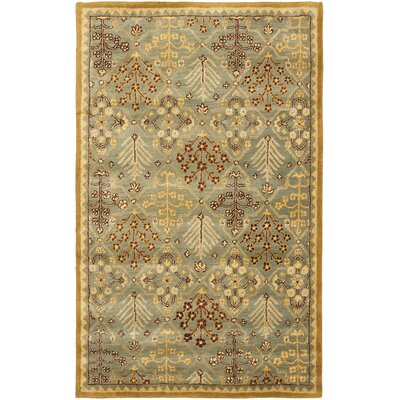 Dunbar Light Blue/Gold Area Rug Rug Size: 4 x 6