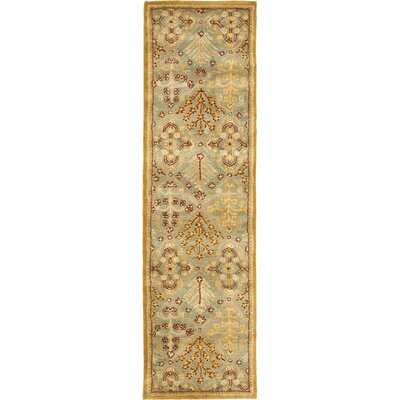 Dunbar Light Blue/Gold Area Rug Rug Size: Runner 23 x 12