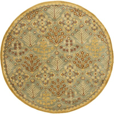 Dunbar Light Blue/Gold Area Rug Rug Size: Round 6