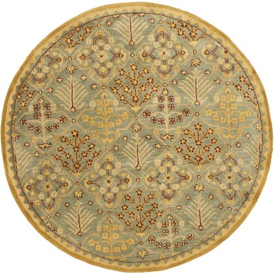 Dunbar Light Blue/Gold Area Rug Rug Size: Round 36
