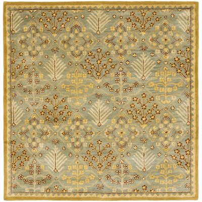 Dunbar Light Blue/Gold Area Rug Rug Size: Square 8