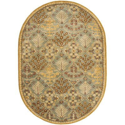 Dunbar Light Blue/Gold Area Rug Rug Size: Oval 46 x 66