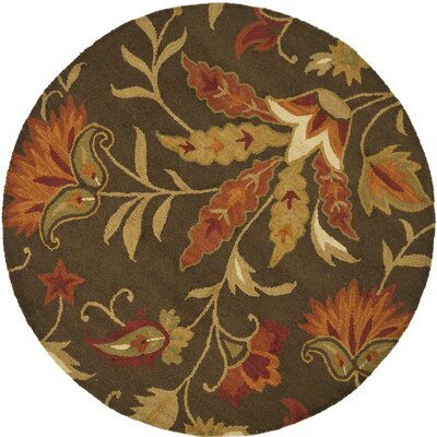 Bradwood Hand-Woven Wool Brown/Orange Area Rug Rug Size: Round 6